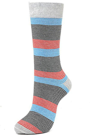 Thin Stripes Cotton Blend Dress Socks (6pk)-Socks-Niobe Clothing