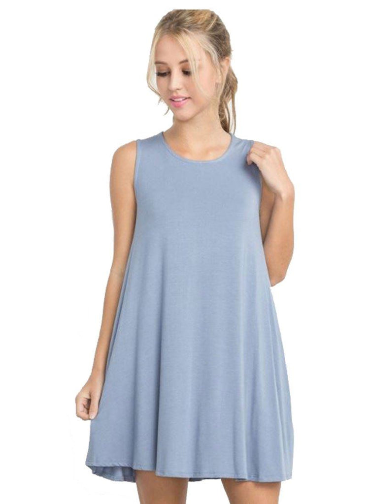 Bamboo Fiber Knit Sleeveless T-shirt Dress (Light Denim)