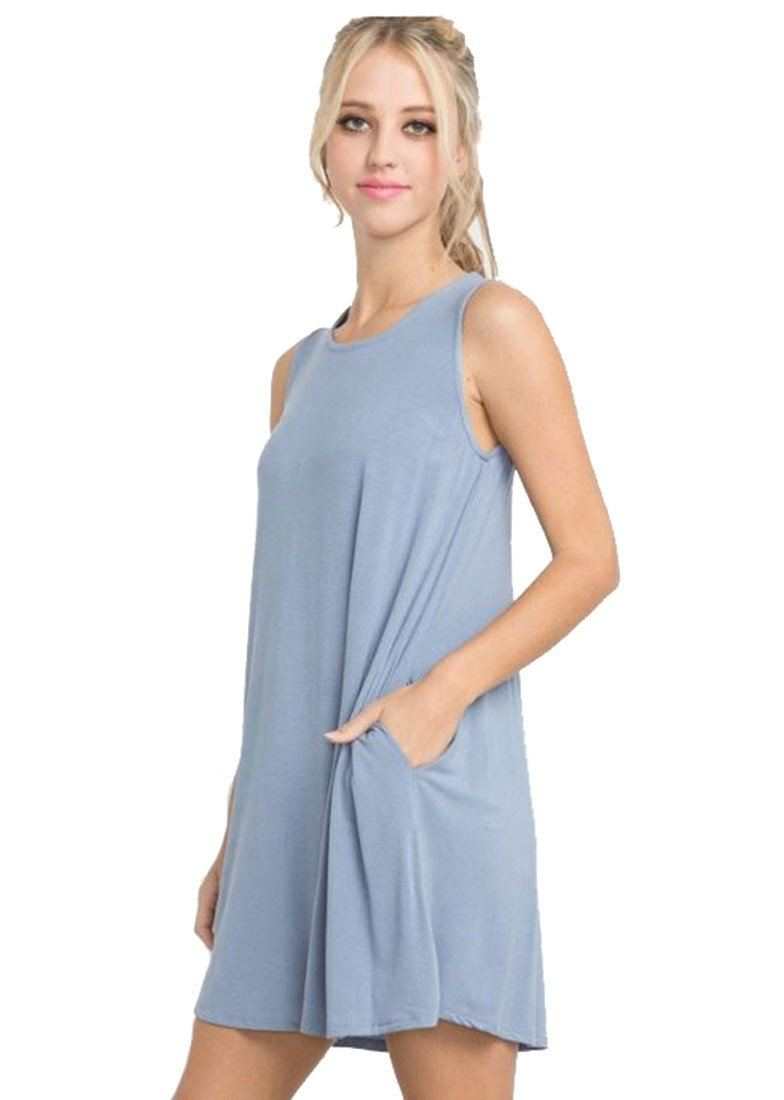 Bamboo Fiber Knit Sleeveless T-shirt Dress (Light Denim) dress- Niobe Clothing