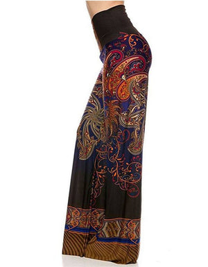 High Waist Fold Over Wide Leg Palazzo Pants (Blue Multi)