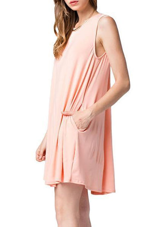 Bamboo Fiber Knit Sleeveless T-shirt Dress (Peach) dress- Niobe Clothing