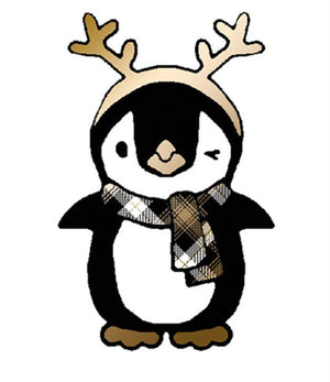 Penguin and Antler Christmas Holiday Graphic T-Shirt-Shirts-Niobe Clothing