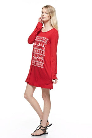 Reindeer Snowfall Long Sleeve Tunic Tunics- Niobe Clothing