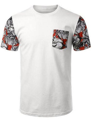 White Red Floral Pocket Sleeve Pattern Shirt Shirts- Niobe Clothing