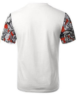 White Red Floral Pocket Sleeve Pattern Shirt - Niobe Clothing - 1