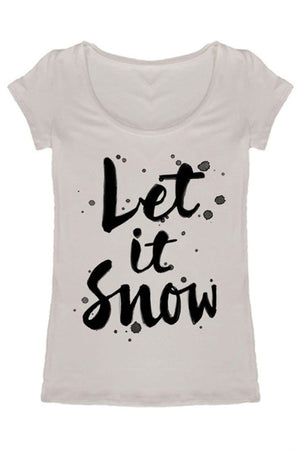 Let It Snow Holiday Graphic T-Shirt (Burgundy)-Shirts-Niobe Clothing