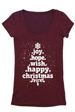 Christmas Tree Word Holiday Graphic T-Shirt Shirts- Niobe Clothing