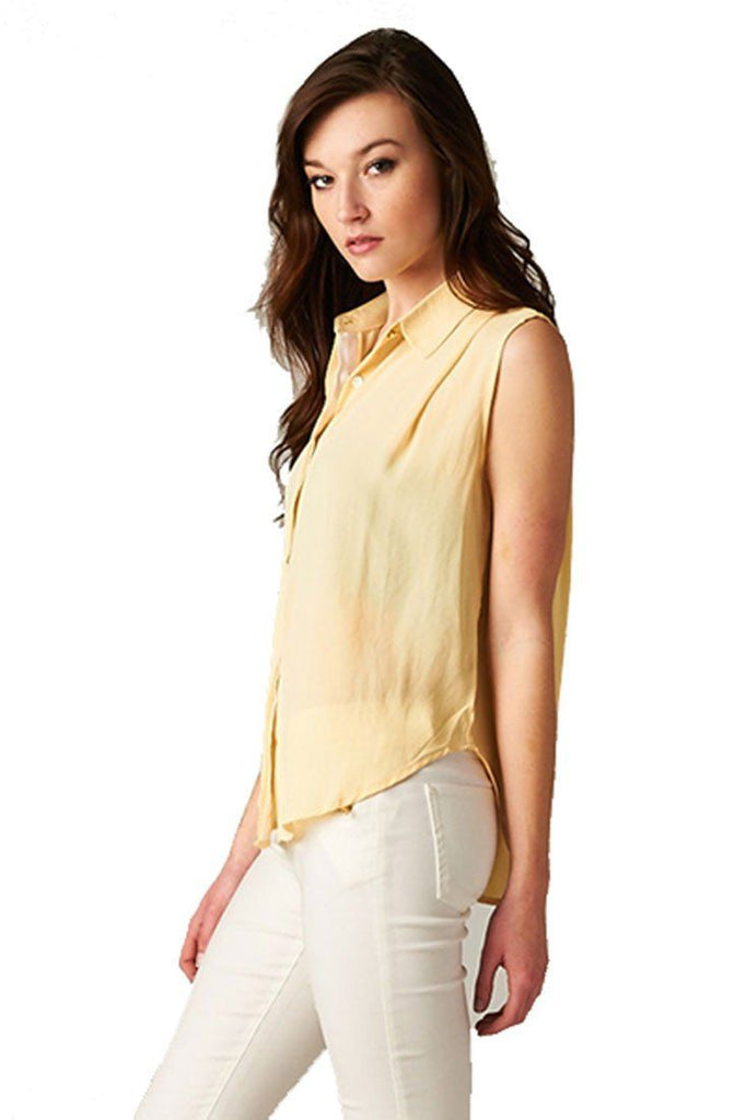 Sleeveless High Low Button Down Blouse (Canary Yellow) - Niobe Clothing - 1
