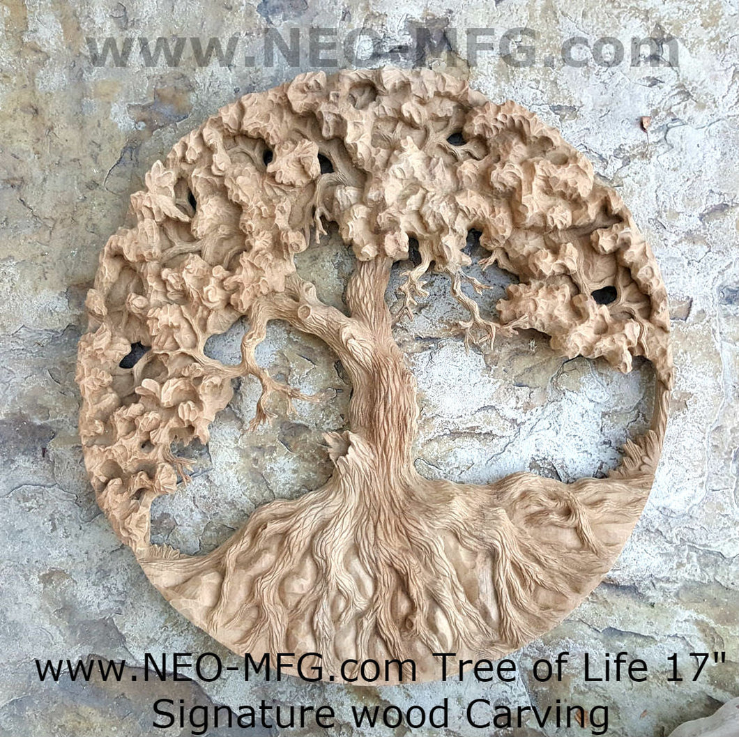 "Nature Tree of Life Carve wall Art Sculpture Frieze Plaque Home decor 17"" www.neo-mfg.com"