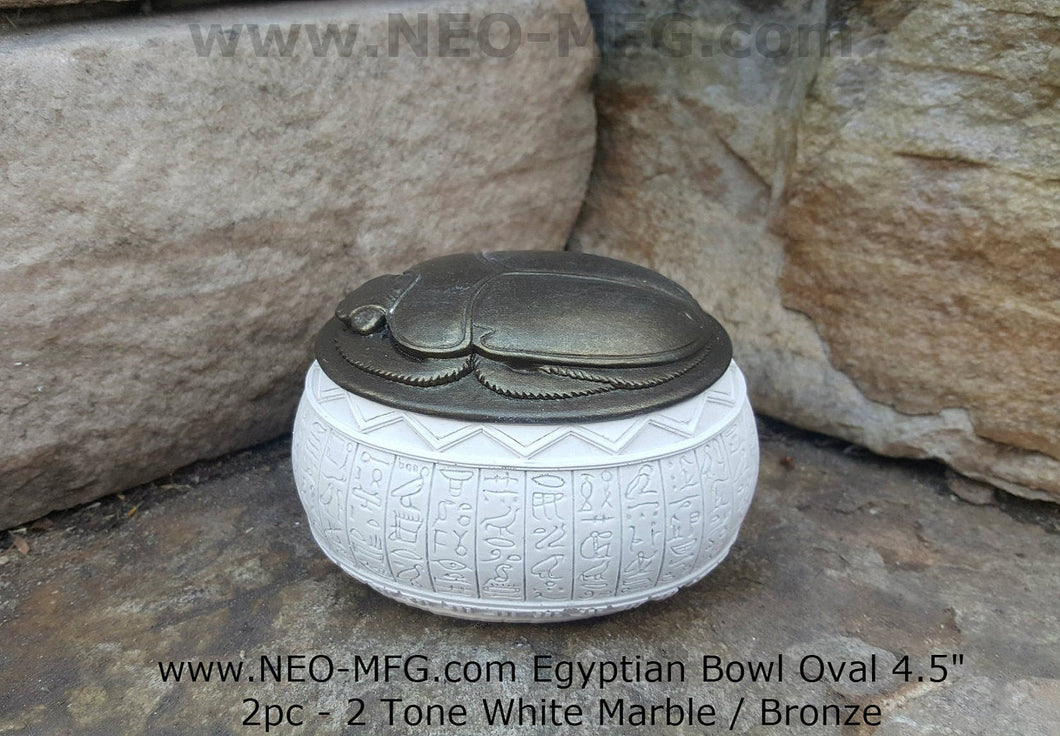 History Egyptian Scarab 2pc Hieroglyphics Bowl Vessel  Oval container www.Neo-Mfg.com 4.5""