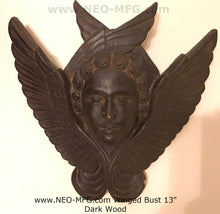 Load image into Gallery viewer, Angel Wings bust wall sculpture statue plaque www.Neo-Mfg.com 13""