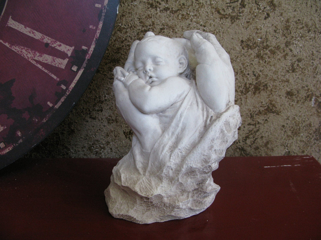 Baby sleeping in Fathers hands sculpture statue  www.Neo-Mfg.mfg 8""