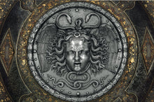 "Load image into Gallery viewer, History Medusa Filippo Negroli Charles V shield design Artifact Carved Sculpture Statue 10"" www.Neo-Mfg.com c16"