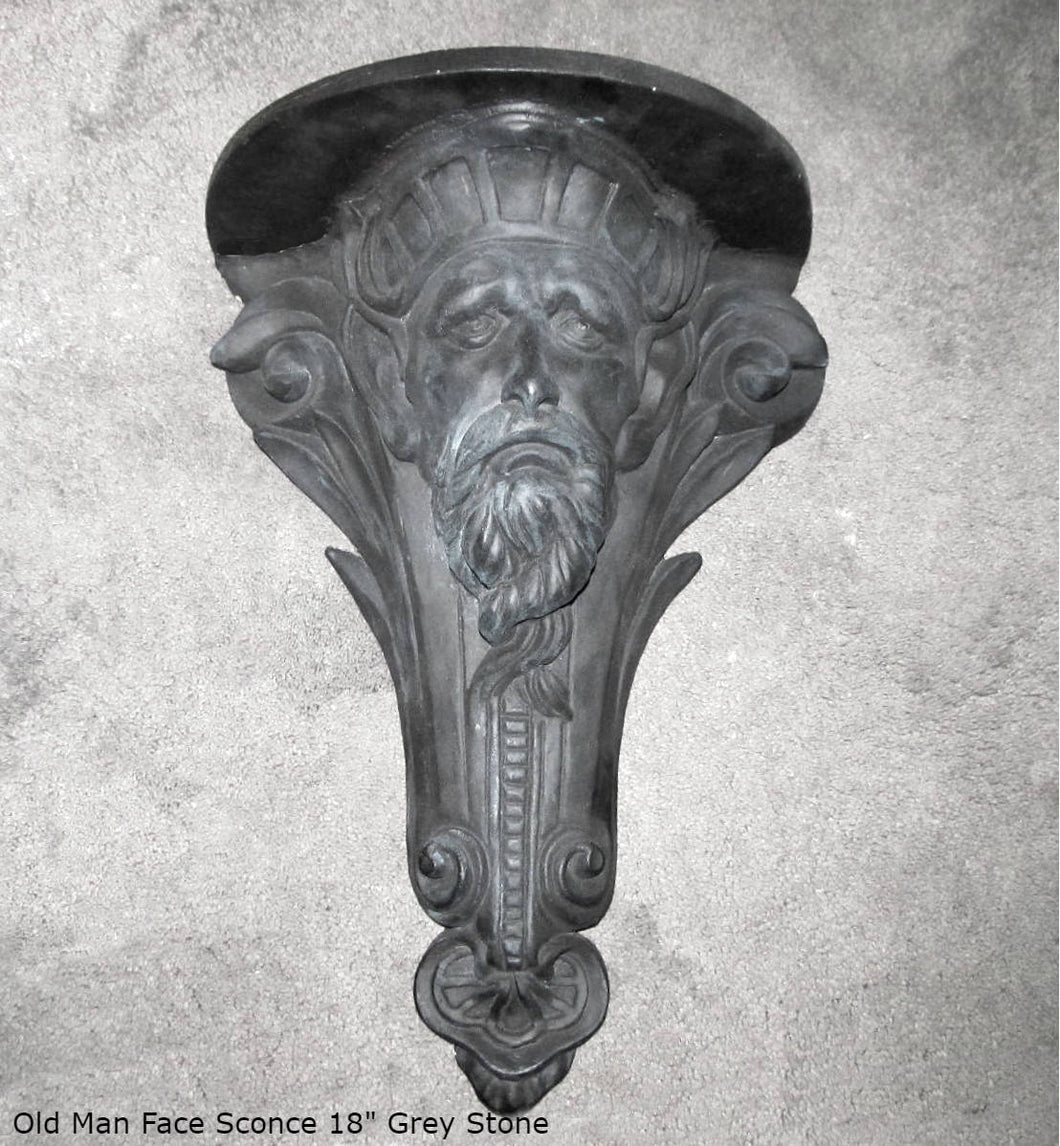 "Gothic medieval Old man face Wall Plaque sculpture Sconce www.Neo-Mfg.com 18"" home decor art  Michelangelo design"