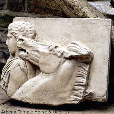"Roman Greek Parthenon Frieze fragment goddess Athena Temple Horse & rider Sculpture museum reproduction art 17"" www.Neo-Mfg.com home decor"