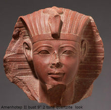 "Load image into Gallery viewer, History Egyptian  Amenhotep / Amenophis  II bust head Sculpture Statue 9"" Tall www.Neo-Mfg.com on Wood"