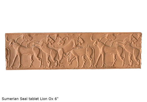 "Sumerian Seal tablet  Plaque Hieroglyphics wall plaque art 6"" www.Neo-Mfg.com"