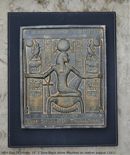 "Egyptian HEH God Of Infinity Tutankhamen Fragment Plaque Wall Frieze 10"" tall www.NEO-MFG.com mounted on plaque"
