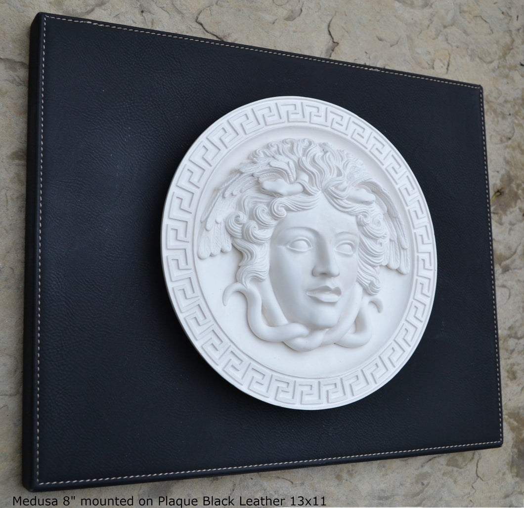 "History Medusa Versace design Artifact Carved Sculpture Statue 8"" www.Neo-Mfg.com Mounted on Plaque"