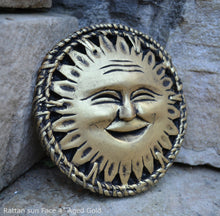 Load image into Gallery viewer, Celestial Sun Rattan Face Pendant Sculpture Wall plaque art decor www.NEO-MFG.com 4""