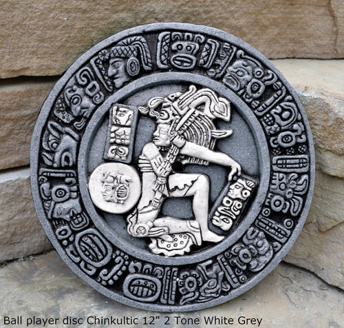 History Aztec Maya Mesoamerica Ball player disc  Chinkultic plaque wall Sculpture Statue www.Neo-Mfg.com 12""