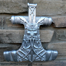 Load image into Gallery viewer, Celtic Thor Hammer Mjolnir wall sculpture statue plaque www.Neo-Mfg.com 12""