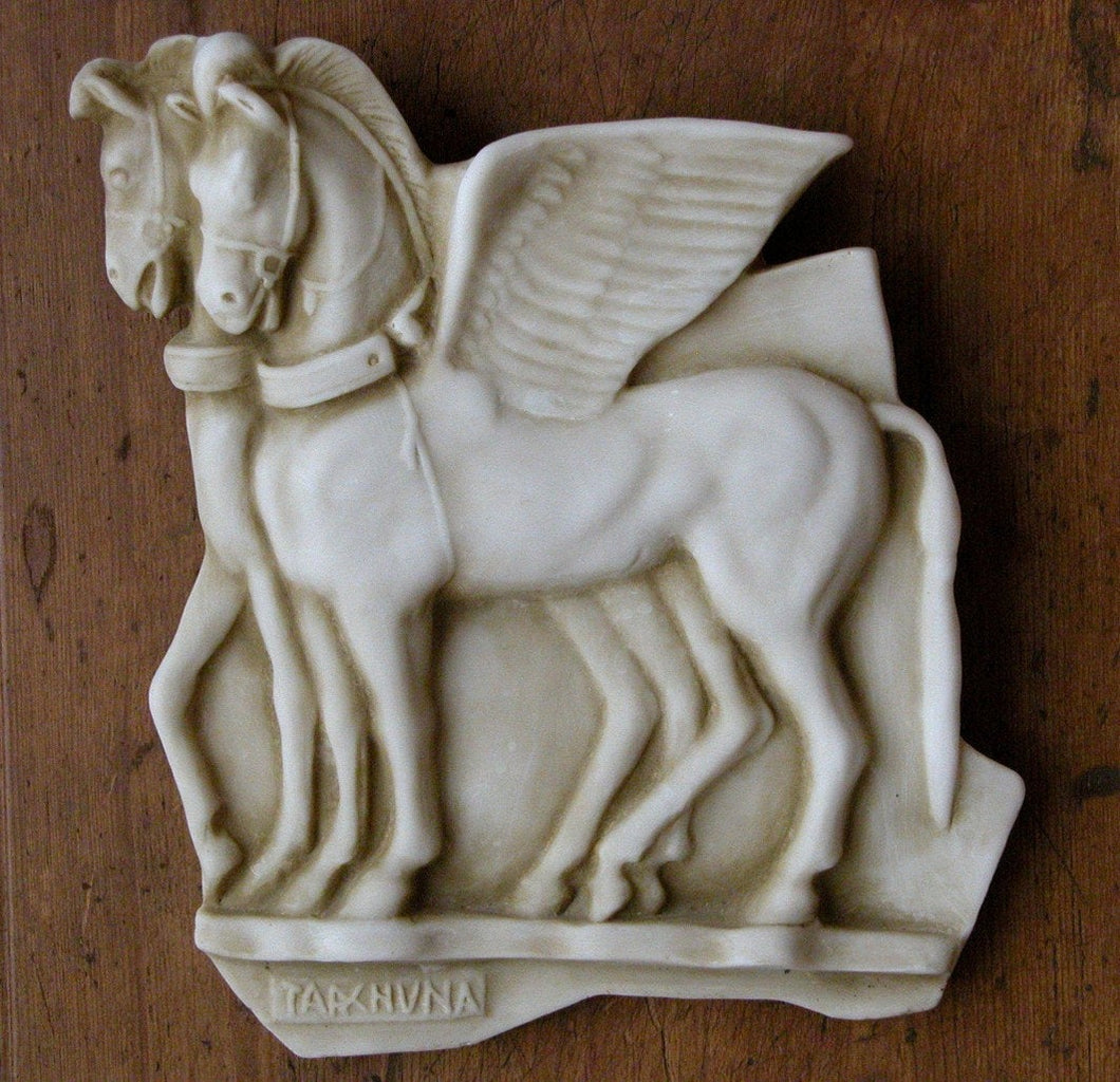"Roman Greek Etruscan Winged horses of Tarquinia wall plaque art Sculpture 10"" www.Neo-Mfg.com Museum reproduction"