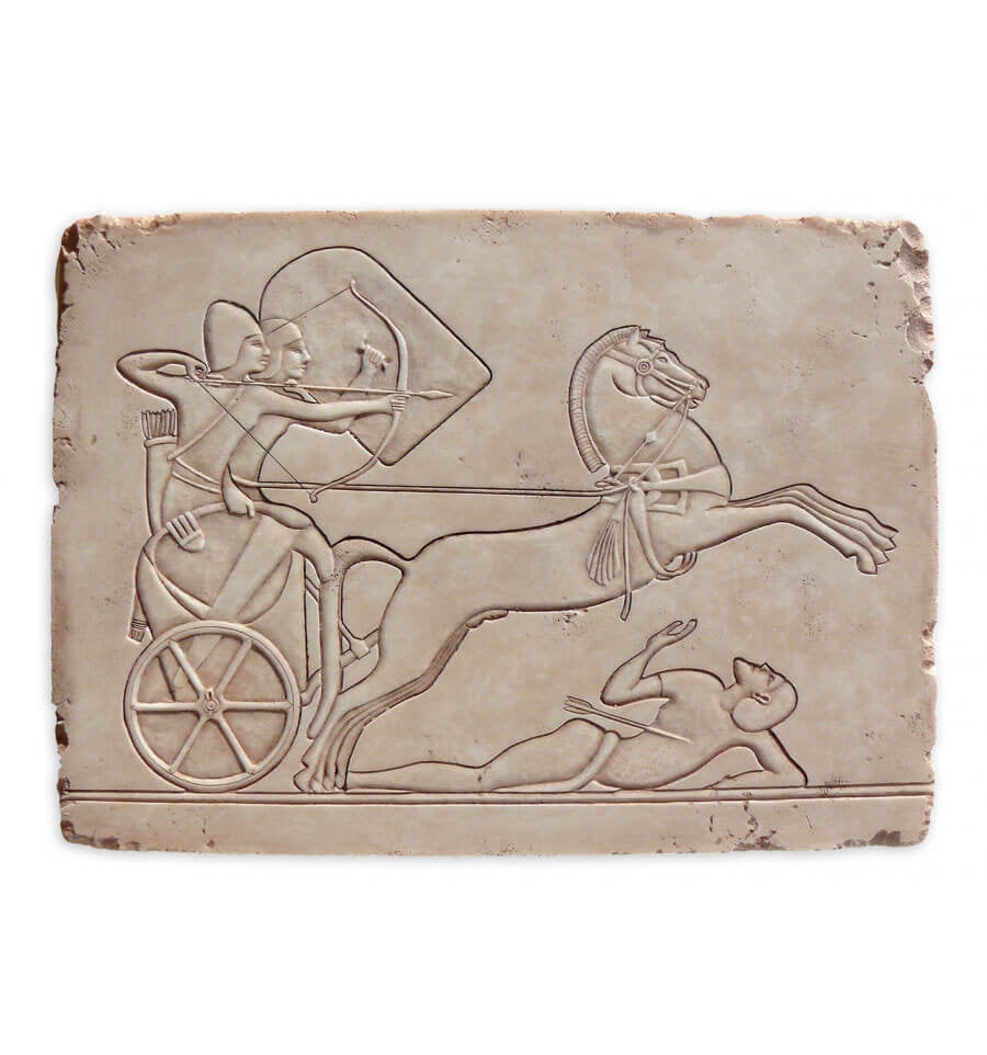 History Egyptian Chariot War scene Tomb of Chamhati in Thebes Sculptural wall relief plaque www.Neo-Mfg.com 13.5""