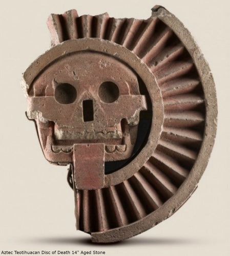 "History Aztec Maya Artifact Carved Teotihuacan Disc of Death Sculpture Statue 12"" Tall www.Neo-Mfg.com Wall art"