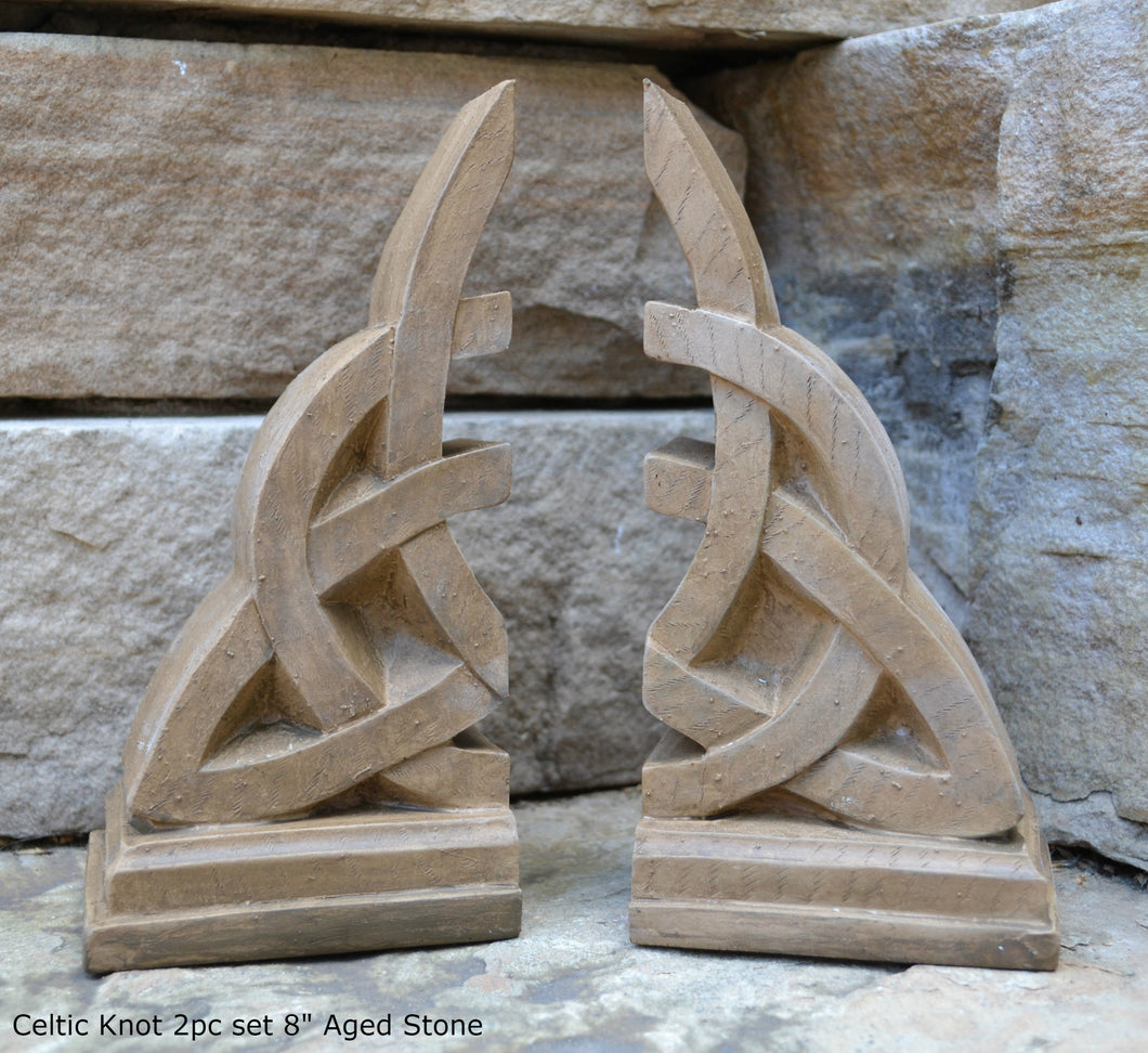 "Celtic Knot triquetra 2pc set Sculpture www.Neo-Mfg.com 8"" Decor or bookends"