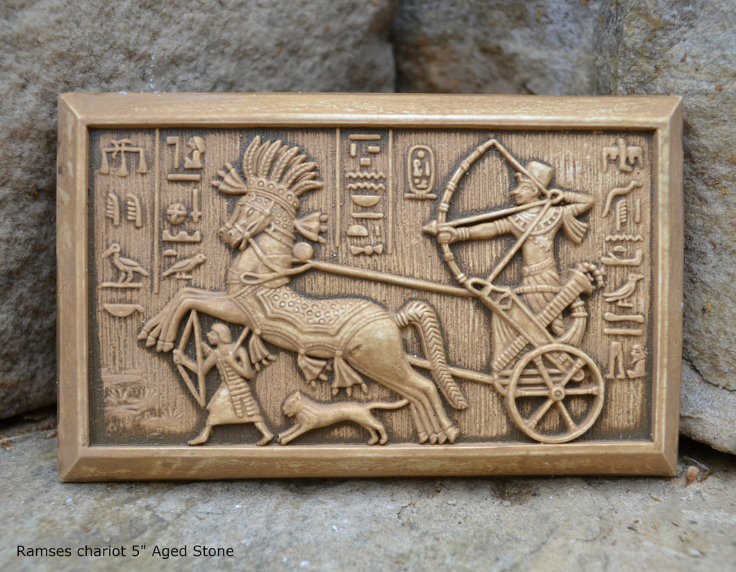History Egyptian Ramses chariot Sculptural wall relief plaque www.Neo-Mfg.com 5""