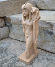 "Load image into Gallery viewer, History Egyptian Ramesses Ramses III Standard-Bearer of Amun-Re Sculpture Statue 13"" www.Neo-Mfg.com Museum Replica Grand size"