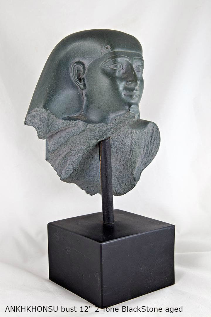 "History Egyptian Ankhkhonsu bust Statue Sculpture 12"" www.Neo-Mfg.com home decor Museum reproduction"