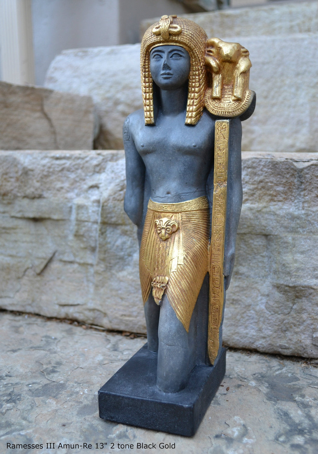 "History Egyptian Ramesses Ramses III Standard-Bearer of Amun-Re Sculpture Statue 13"" www.Neo-Mfg.com Museum Replica Grand size"