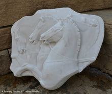 "Load image into Gallery viewer, Roman Greek Rearing Horses Sculpture Statue  plaque www.Neo-Mfg.com 12"" home decor"