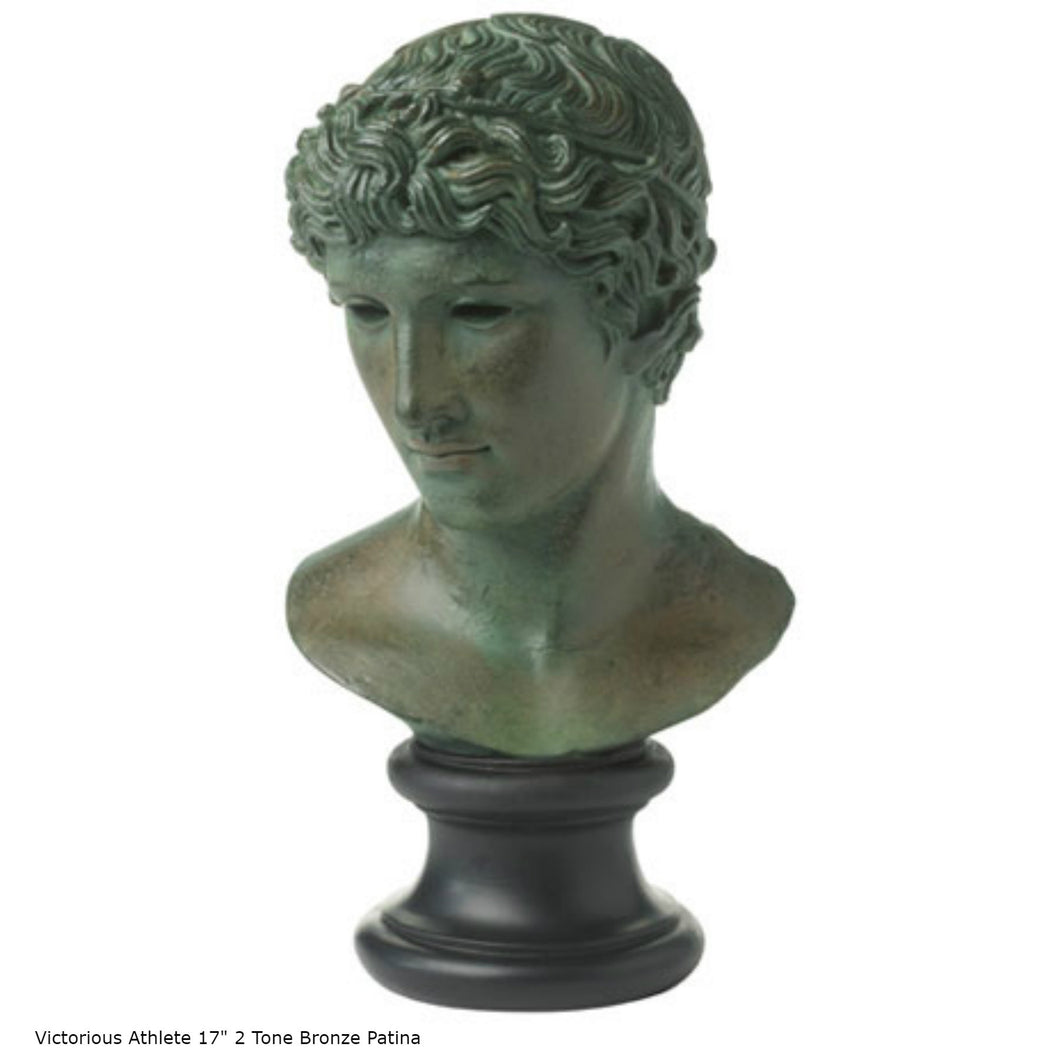 "Roman Greek victorious Athlete Bust sculpture 17"" www.Neo-Mfg.com home decor Museum reproduction"