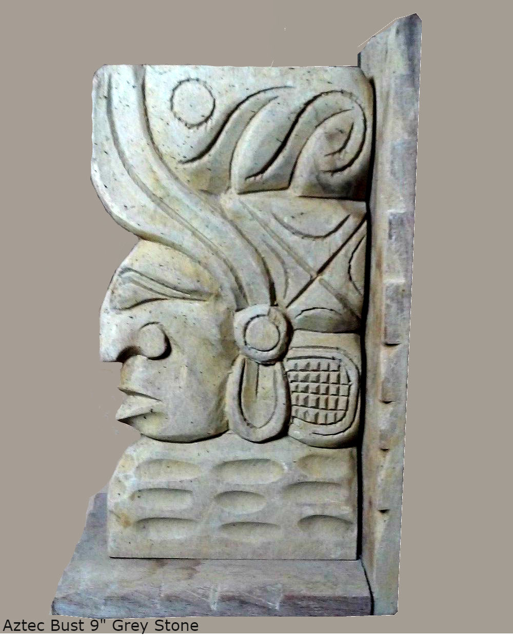 "History Aztec Maya Bust Carved Sculpture Statue 9"" Tall www.Neo-Mfg.com"
