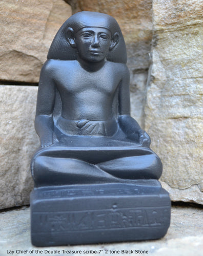 "Egyptian Scribe Lay seated sitting statue Sculpture 7"" www.Neo-Mfg.com museum reproduction"