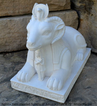 "Load image into Gallery viewer, Egyptian Sphinx Ram-Headed Temple Amun Karnak Carving sculpture statue 8.75"" www.Neo-Mfg.com"
