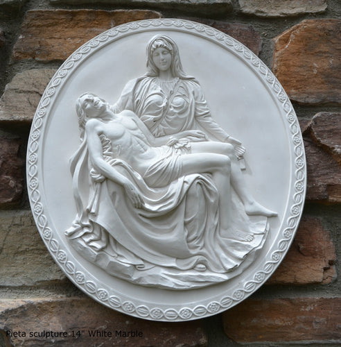 "Pieta Wall Sculpture After the original by Michelangelo 14.5"" tall Neo-Mfg"