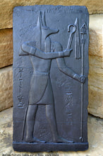 Load image into Gallery viewer, History Egyptian Anubis Temple Osiris Sculptural wall relief  www.Neo-Mfg.com 11""