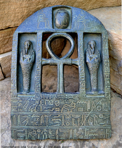 "History Egyptian Stele for Senebef and Ipta Scarab Artifact Carved Sculpture Statue 16"" Tall www.Neo-Mfg.com Museum reproduction"