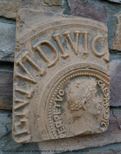 Load image into Gallery viewer, Roman Caesar coin architectural fragment Sculptural Wall frieze plaque relief www.Neo-Mfg.com 10""
