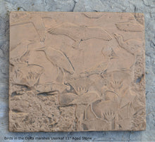 "Load image into Gallery viewer, History Egyptian Birds in the Delta marshes Userkaf in Saqqara 11"" Stela Sculptural wall relief  www.Neo-Mfg.com"