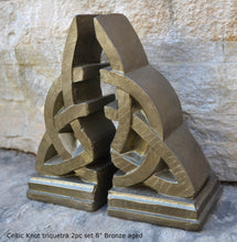"Load image into Gallery viewer, Celtic Knot triquetra 2pc set Sculpture www.Neo-Mfg.com 8"" Decor or bookends"