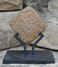 Load image into Gallery viewer, Cuneiform Bill sale of a male slave and a building in Shuruppak, Sumerian tablet museum replica tablet Sculpture www.Neo-Mfg.com with stand