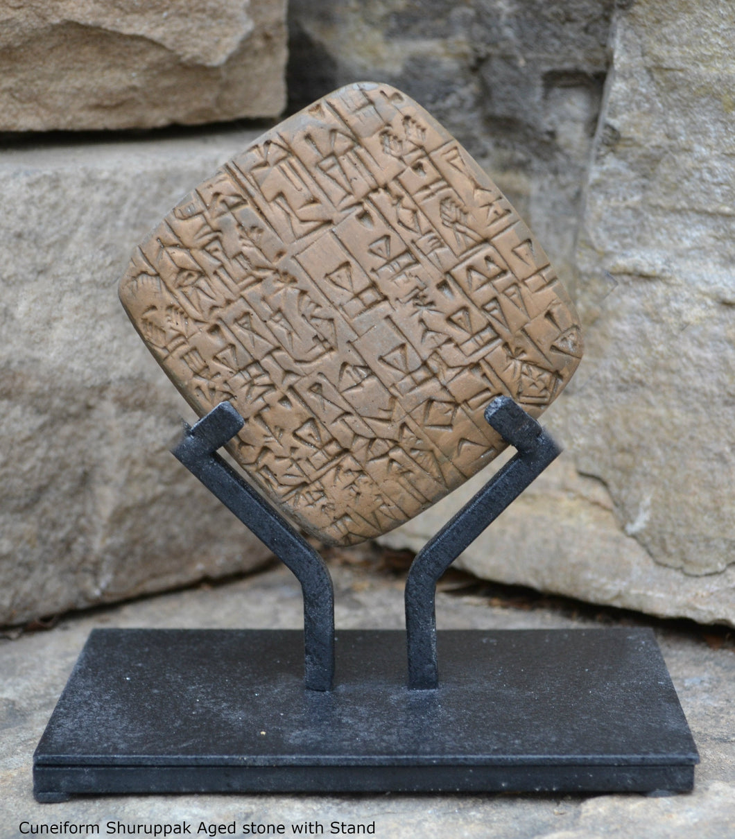 Cuneiform Bill sale of a male slave and a building in Shuruppak, Sumerian tablet museum replica tablet Sculpture www.Neo-Mfg.com with stand