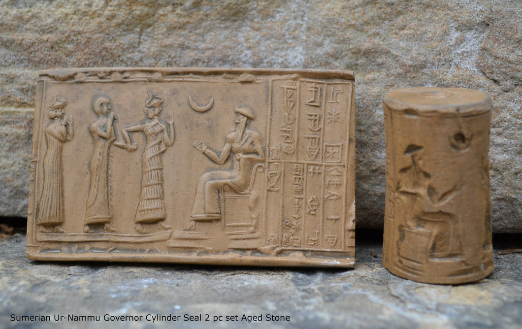 Historical Assyrian Sumerian Ur-Nammu Governor Cylinder Seal wall Sculpture www.Neo-Mfg.com Mesopotamia 2pc set