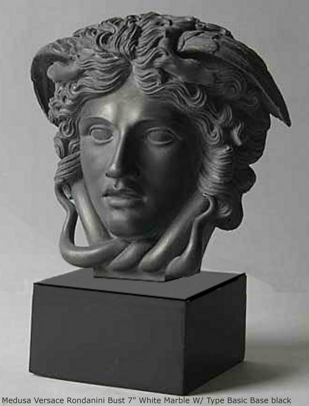 "History Medusa Versace Rondanini Bust design Artifact Carved Sculpture Statue 7"" www.Neo-Mfg.com Mounted on base"