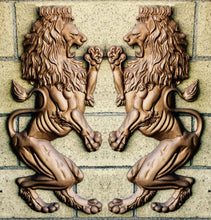 "Load image into Gallery viewer, Animal LION Britannic Rampant sculpture wall frieze 32"" tall www.Neo-Mfg.com Metal aluminum pair"